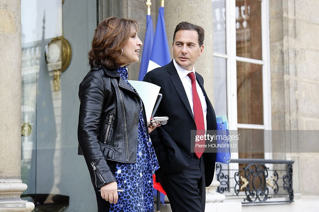 French junior Minister attached to the minister of Labour <a gi-track='captionPersonalityLinkClicked' href=/galleries/search?phrase=Nora+Berra&family=editorial&specificpeople=5939030 ng-click='$event.stopPropagation()'>Nora Berra</a> and French Minister for Immigration <a gi-track='captionPersonalityLinkClicked' href=/galleries/search?phrase=Eric+Besson&family=editorial&specificpeople=4205192 ng-click='$event.stopPropagation()'>Eric Besson</a> in the weekly Council at Elysee Palace in Paris, France on September 29th , 2010.