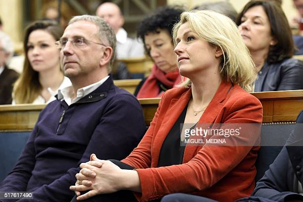 French Junior minister Barbara Pompili looks on during the second meeting of the the new ecologist party ' Ecologistes' in Paris on March 26 2016 /...