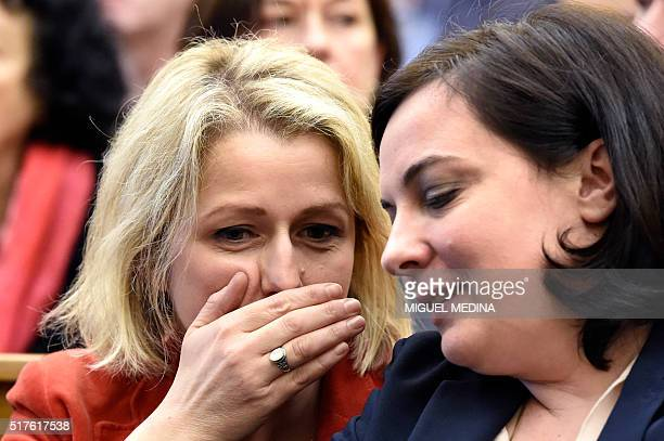 French Junior minister Barbara Pompili speaks to French Housing Minister Emmanuelle Cosse during the second meeting of the the new ecologist party '...