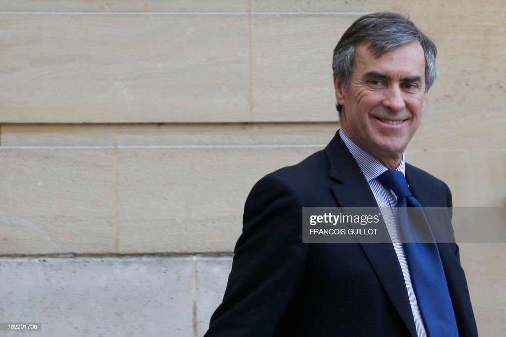 French Junior Minister for Budget, Jerome Cahuzac leaves following a lunch with French Prime Minister and French government's ministers focused on budget on February 20, 2013 at the Hotel Matignon, the Prime Minister official residence, in Paris.