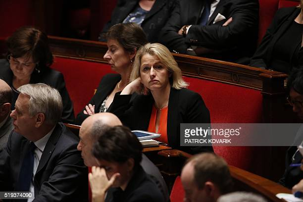 French Junior Minister for Climate and Biodiversity Barbara Pompili looks on during a session of questions to the Government at the French National...