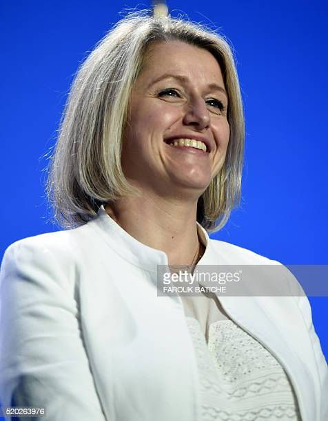 French Junior Minister for Climate and Biodiversity Barbara Pompili attends a meeting with members of the French community in Algeria on April 10 in...