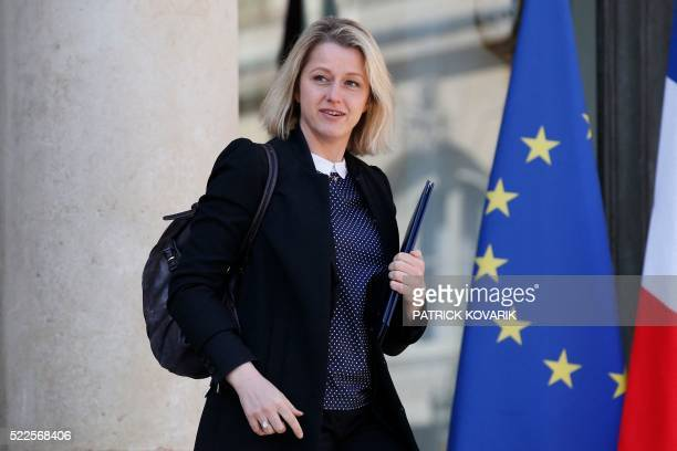 French Junior Minister for Climate and Biodiversity Barbara Pompili leaves the Elysee presidential Palace following the weekly cabinet meeting on...