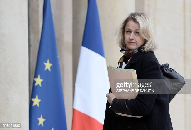French Junior Minister for Climate and Biodiversity Barbara Pompili arrives to attend an environmental conference on April 25 2016 at the Elysee...