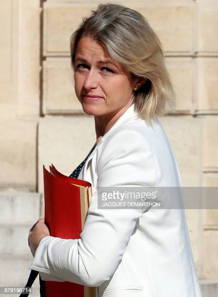 French Junior Minister for Climate and Biodiversity Barbara Pompili arrives for a governmental meeting with French President to define the main...
