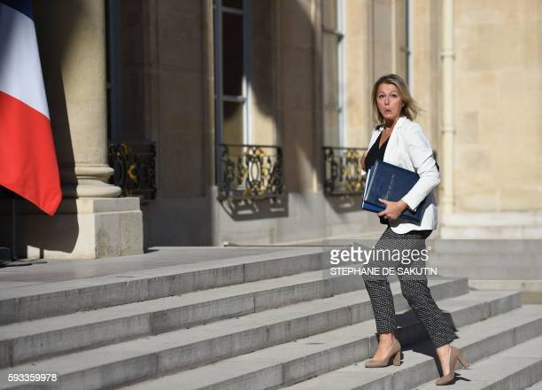 French Junior Minister for Climate and Biodiversity Barbara Pompili arrives at the Elysee presidential Palace in Paris for the first weekly cabinet...