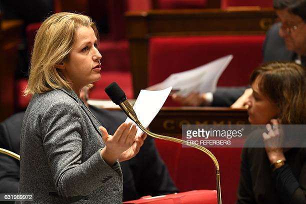 French Junior Minister for Climate and Biodiversity Barbara Pompili gestures as she speaks during a session of questions to the government at the...