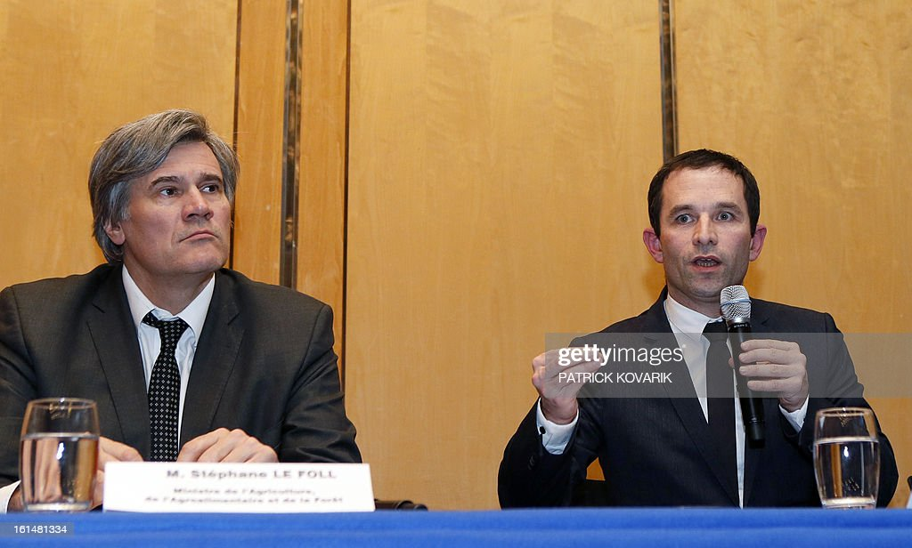French Junior minister for Consumption Benoit Hamon (R) and French Agriculture minister Stephane Le Foll (L) give a press conference after a meeting with representatives of the meat selling business in France , on February 11, 2013 in Paris. A Europe-wide food fraud scandal over horsemeat sold as beef deepened on February 9, as Romania announced an inquiry into the origin of the meat and suspicions of criminal activity mounted.