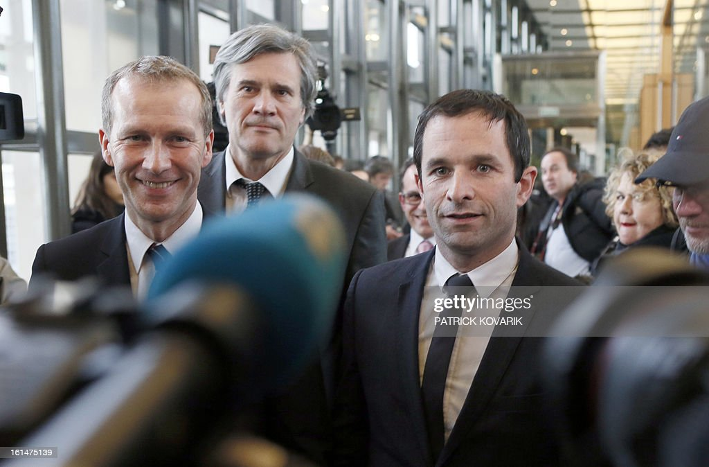 French Junior minister for Consumption Benoit Hamon (R), French Agriculture minister Stephane Le Foll (2ndL) and Junior minister for food-processing Guillaume Garot (L) answer journalists questions as they arrive for a meeting with representatives of the meat selling business in France , on February 11, 2013 in Paris. A Europe-wide food fraud scandal over horsemeat sold as beef deepened on February 9, as Romania announced an inquiry into the origin of the meat and suspicions of criminal activity mounted.