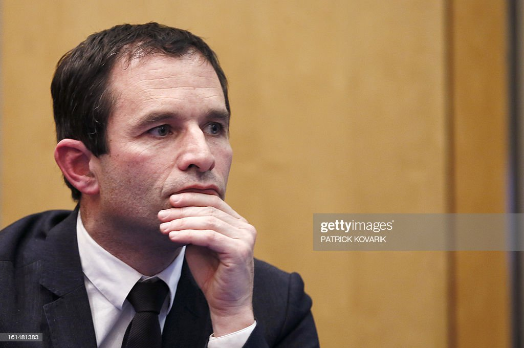 French Junior minister for Consumption Benoit Hamon is pictured during a press conference after a meeting with representatives of the meat selling business in France , on February 11, 2013 in Paris. A Europe-wide food fraud scandal over horsemeat sold as beef deepened on February 9, as Romania announced an inquiry into the origin of the meat and suspicions of criminal activity mounted. AFP PHOTO PATRICK KOVARIK