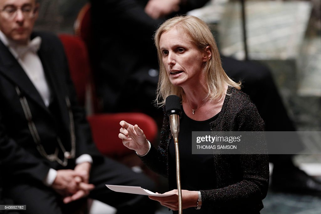 French junior minister for Disabled People and the Fight Against Exclusion Segolene Neuville speaks during the questions to the government session on June 29, 2016 at the French National Asssembly in Paris. / AFP / Thomas SAMSON