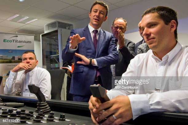 French Junior Minister for Economy Benjamin Griveaux and EcoTitanium factory president Marc Dauzat attend the inauguration of the French mining and...