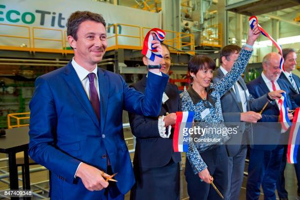 French Junior Minister for Economy Benjamin Griveaux and French mining and metallurgy group Eramet CEO Christel Bories attend the inauguration of the...