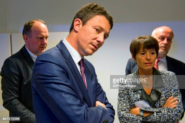 French Junior Minister for Economy Benjamin Griveaux French mining and metallurgy group Eramet CEO Christel Bories and EcoTitanium factory president...