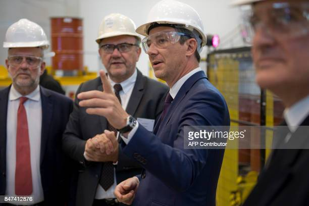 French Junior Minister for Economy Benjamin Griveaux gestures as he attends the inauguration of French mining and metallurgy group Eramet...