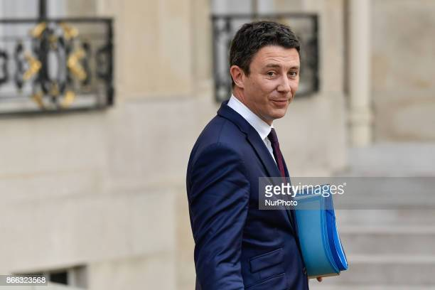 French Junior Minister for Economy Benjamin Griveaux leaves the Elysee Presidential Palace after the weekly cabinet meeting in Paris October 25 2017