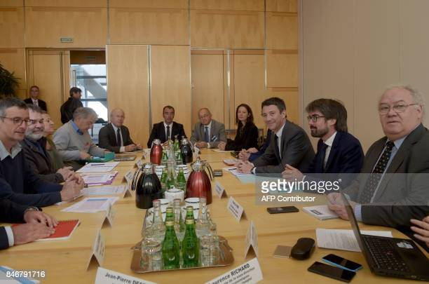 French Junior Minister for Economy Benjamin Griveaux meets with Nokia's trade representatives and region representatives at the Economy Ministry on...