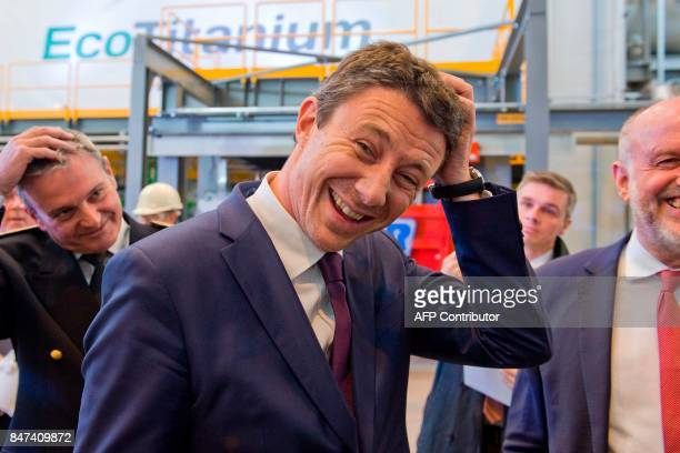 French Junior Minister for Economy Benjamin Griveaux reacts during the inauguration of the French mining and metallurgy group Eramet 'EcoTitanium'...