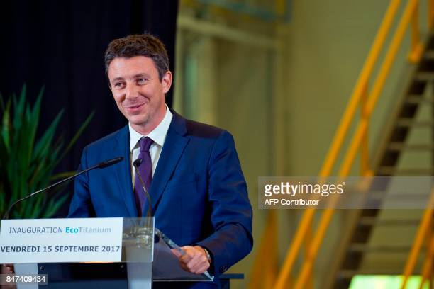 French Junior Minister for Economy Benjamin Griveaux speaks during the inauguration of the French mining and metallurgy group Eramet 'EcoTitanium'...