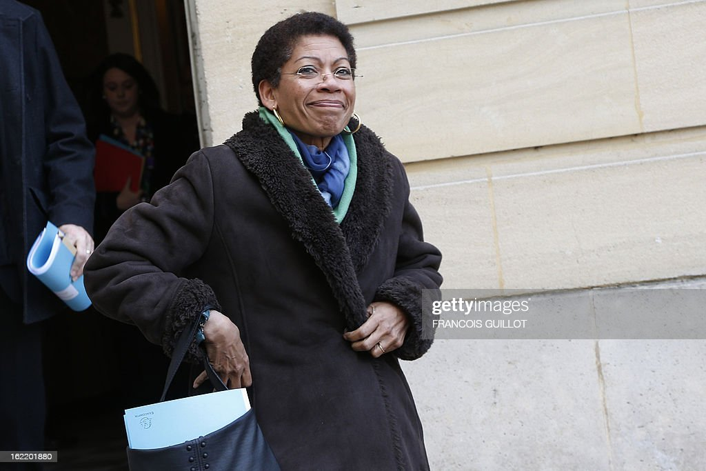 French Junior Minister for Educational Success George Pau-Langevin leaves following a lunch with French Prime Minister and French government's ministers focused on budget on February 20, 2013 at the Hotel Matignon, the Prime Minister official residence, in Paris.