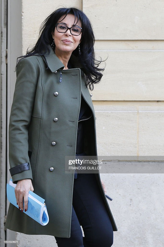 French junior minister for Francophonie Yamina Benguigui leaves following a lunch with French Prime Minister and French government's ministers focused on budget on February 20, 2013 at the Hotel Matignon, the Prime Minister official residence, in Paris.