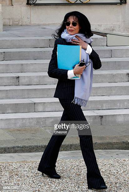 French Junior Minister for French Living Abroad and Francophony Yamina Benguigui leaves after the weekly cabinet meeting at the Elysee palace on...