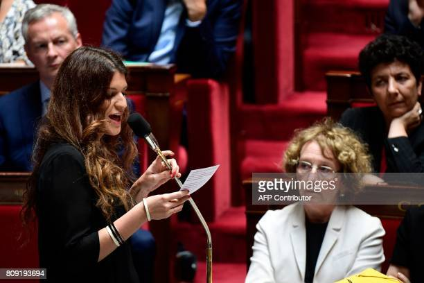 French Junior Minister for Gender Equality Marlene Schiappa addresses deputies during a session of questions to the Government at the French National...