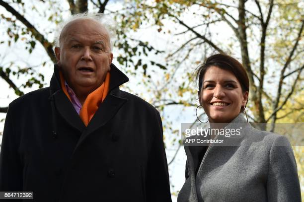 French Junior Minister for Gender Equality Marlene Schiappa and Mayor of Le Mans JeanClaude Boulard at a fair ground on October 21 in Le Mans...