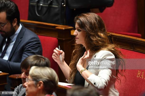 French Junior Minister for Gender Equality Marlene Schiappa attends a session of questions to the government at the French National Assembly in Paris...