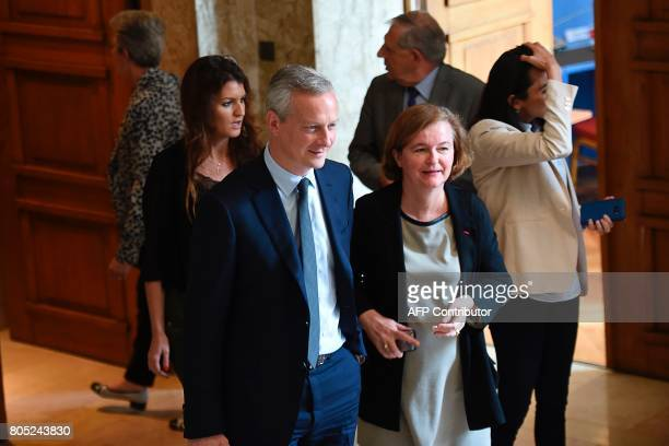 French Junior Minister for Gender Equality Marlene Schiappa French Economy Minister Bruno Le Maire and French Minister attached to the Foreign...