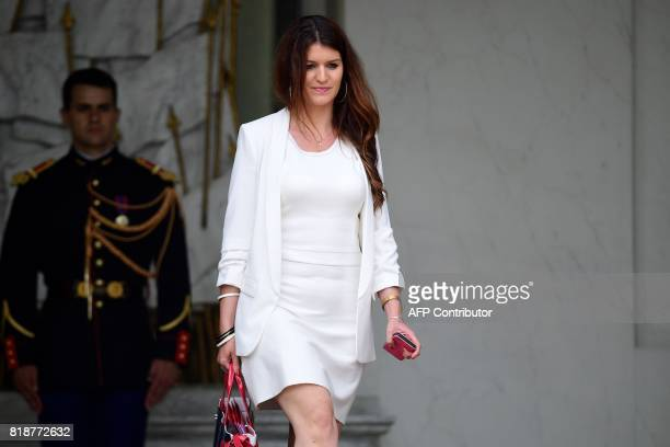 French Junior Minister for Gender Equality Marlene Schiappa leaves the Elysee palace in Paris on July 19 after the weekly cabinet meeting / AFP PHOTO...
