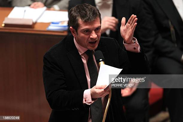 French Junior Minister for Housing Benoist Apparu speaks during the weekly session of questions to the government at the National Assembly on...