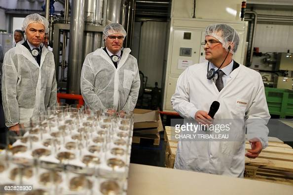 French junior minister for Industry Christophe Sirugue and Michel CHINA EVERBRIGHT Ferrero's director for France visit the Ferrero France plant in...