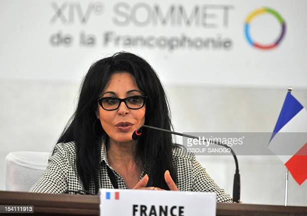French Junior Minister for La Francophonie Yamina Benguigui speaks during a joint press conference during the closing session of the Frenchspeaking...