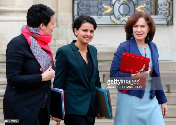 French Junior Minister for Local Authorities Estelle Grelier French Education Minister Najat VallaudBelkacem and French Minister for Family Children...
