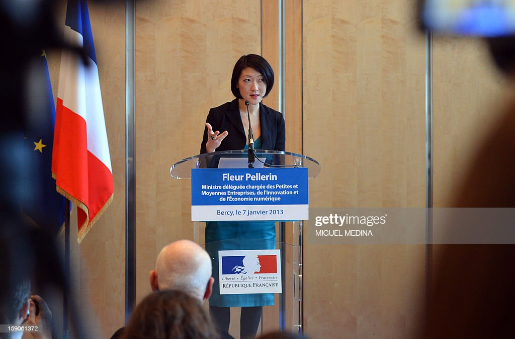 French Junior minister for Medium and Small sized enterprises Fleur Pellerin delivers a speech, on January 7, 2013 at the ministry in Paris, after a meeting with representatives of telecoms company and internet provider Free and online publishers and advertisers to try and resolve a dispute over a decision by Free to block online advertisements. AFP PHOTO MIGUEL MEDINA