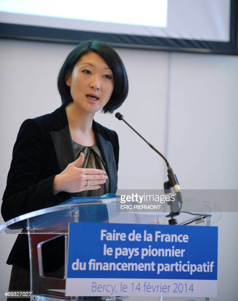 French Junior minister for SMEs Innovations and Digital Economy Fleur Pellerin gives a press conference about the crowdfunding in France at the...