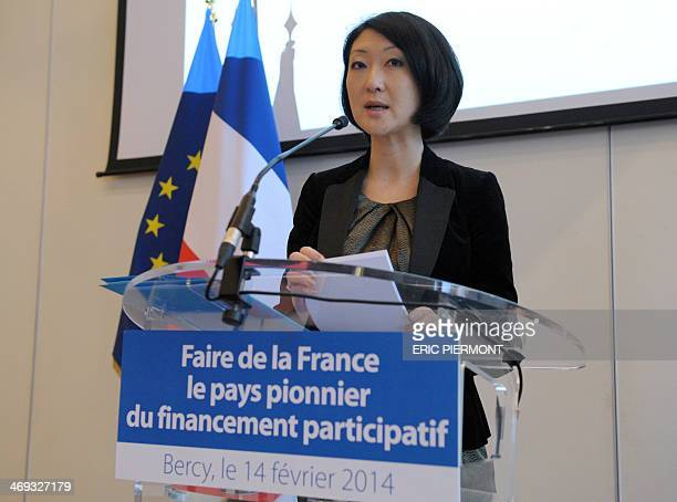 French Junior minister for SMEs Innovations and Digital Economy Fleur Pellerin gives a press conference about crowdfunding in France at the Economy...