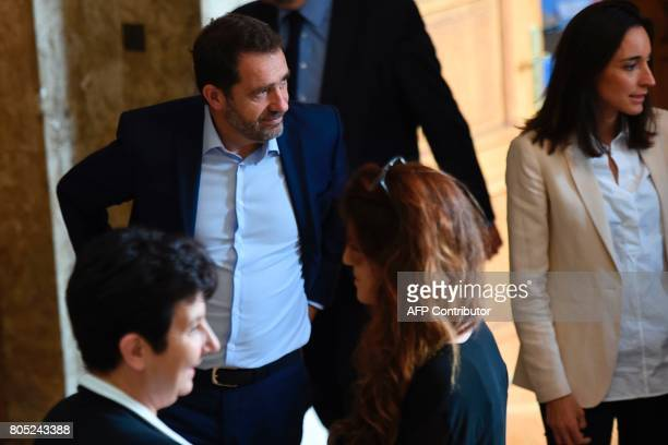 French Junior Minister for the Relations with Parliament and Government Spokesperson Christophe Castaner and French Minister attached to the Minister...