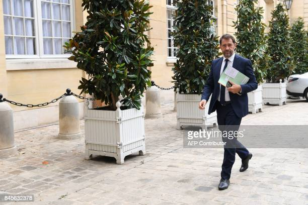 French Junior Minister for the Relations with Parliament and Government Spokesperson Christophe Castaner arrives at the Hotel Matignon in Paris on...
