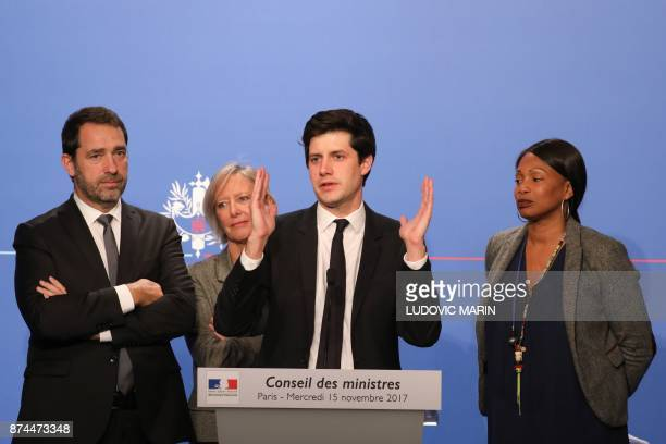 French Junior Minister for the Territorial Cohesion Julien Denormandie gives a press conference next to French Junior Minister for the Relations with...