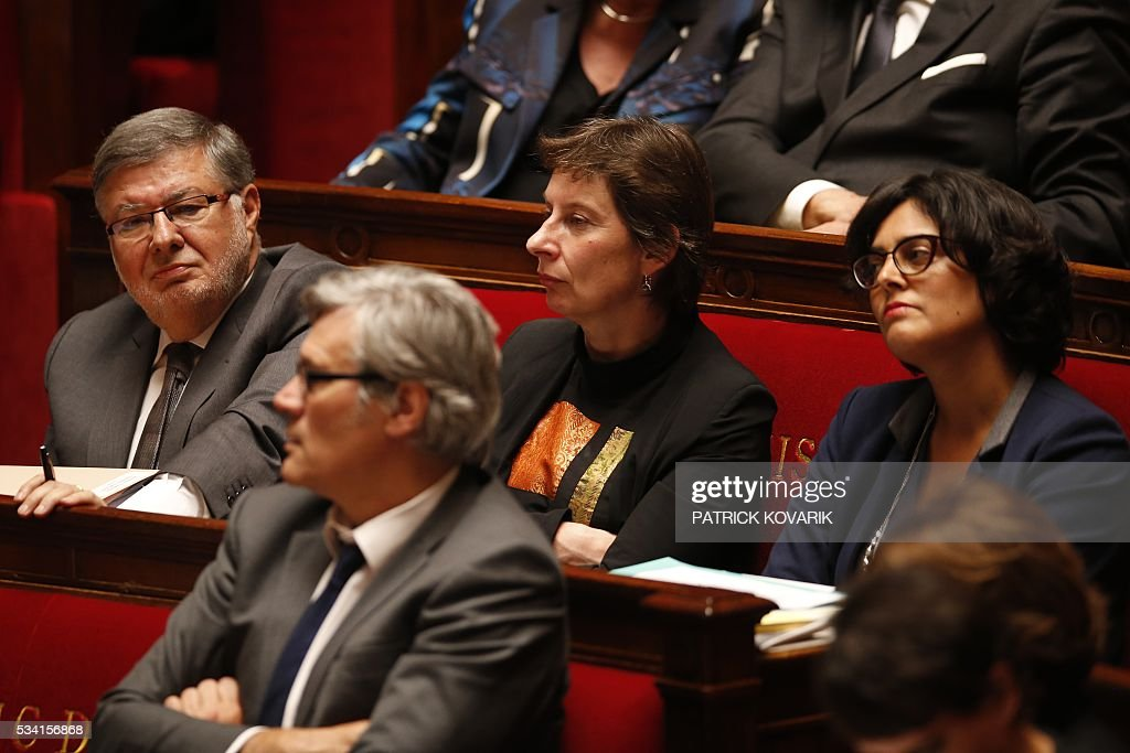 French junior minister for Transport, Maritime Economy and Fishery Alain Vidalies, French Minister of State for Vocational Training and Apprenticeships Clotilde Valter and French Labour Minister Myriam El-Khomri attend a session of Questions to the Government, on May 25, 2016 at the National Assembly in Paris.