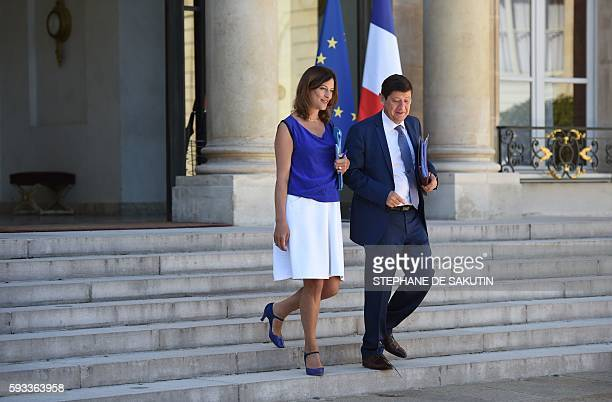 French junior minister for victims aid Juliette Meadel and French minister for Cities Youth and Sport Patrick Kanner leave the Elysee presidential...