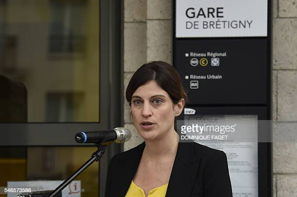 French junior minister for victims aid Juliette Meadel delivers a speech at the railway station of BretignysurOrge on July 12 2016 during the...