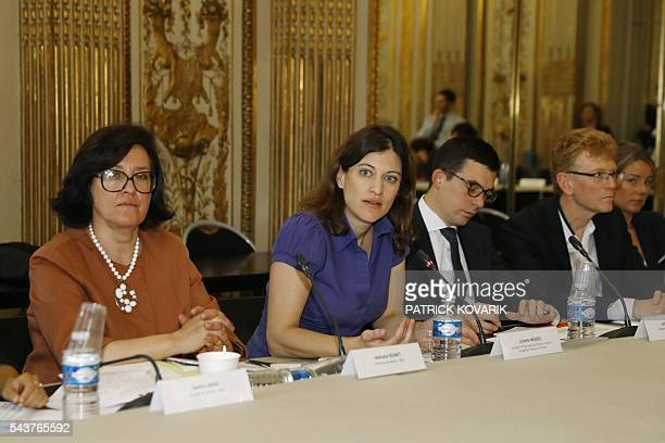 French junior minister for victims aid Juliette Meadel leads a meeting with act of terror victims' associations on June 30 2016 in Paris / AFP /...