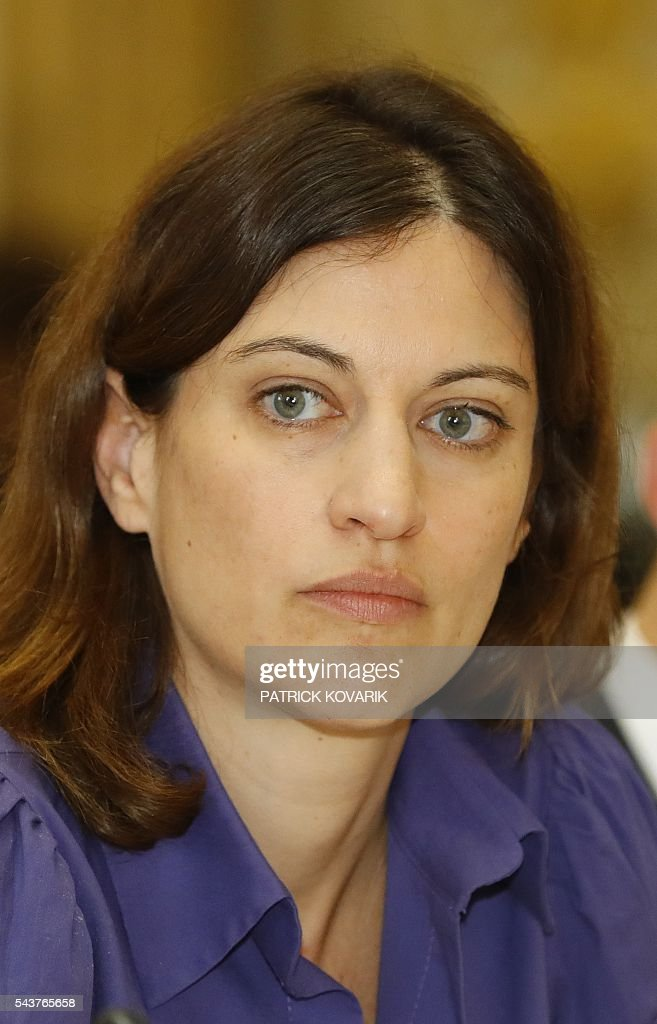 French junior minister for victims aid Juliette Meadel leads a meeting with act of terror victims' associations on June 30, 2016 in Paris. / AFP / PATRICK