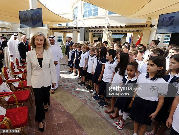 French Junior Minister in charge of French nationals abroad Helene ConwayMouret arrives during the opening of a new French elementary school in the...