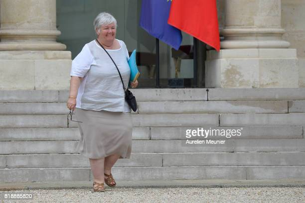 French junior Minister Jacqueline Gourault leaves the Elysee Palace after the weekly cabinet meeting with French President Emmanuel Macron on July 19...