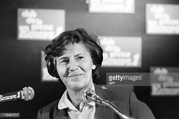 French Junior Minister of Justice Monique Pelletier takes part on December 1 1978 in the program 'Club de la presse' at French radio station Europe 1...
