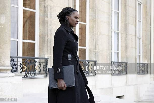 French junior Minister of Sports Rama Yade in the weekly Council at Elysee Palace in Paris France on September 29th 2010